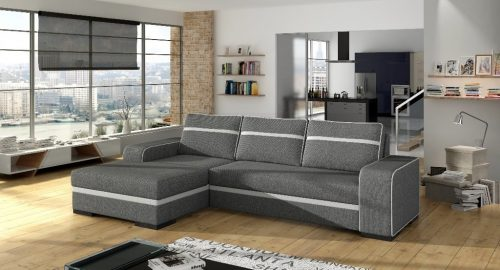 Finn grå sovesofa med chaiselong set forfra