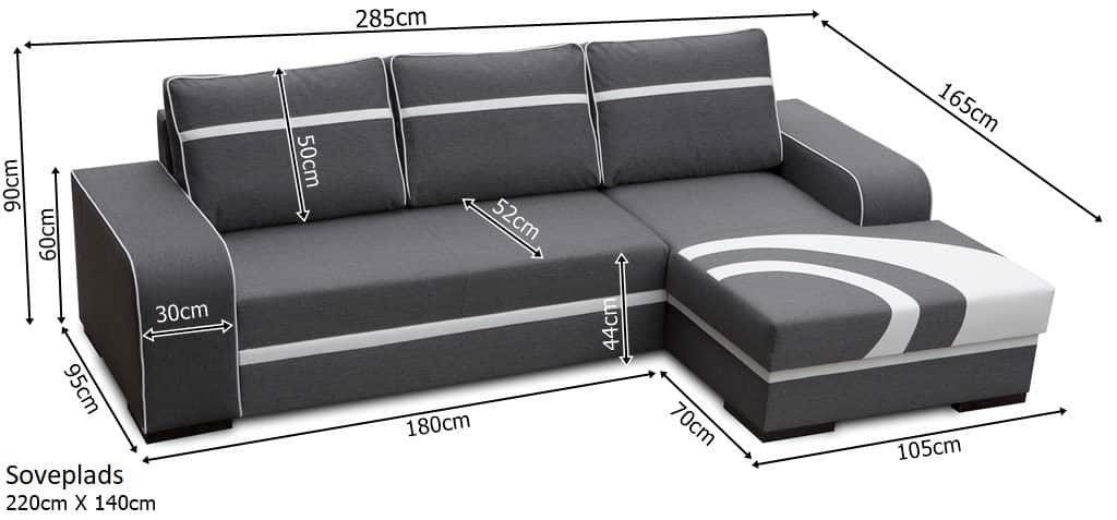 Flores sovesofa med chaiselong zoom