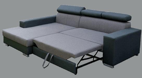 Malcolm sovesofa med chaiselong omdannet til seng