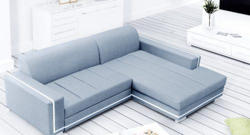 Martin himmelblå sovesofa med chaiselong set forfra