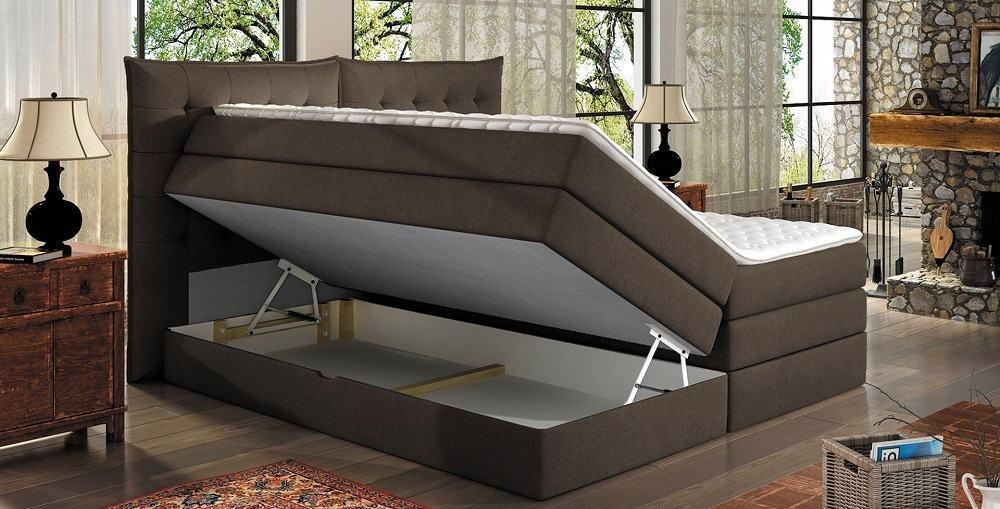 Aura kontinental seng vist med åben opbevaring