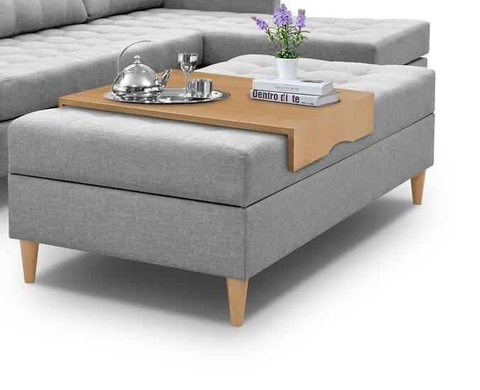Bordplade der sættes på sovesofa for at skabe sofabord