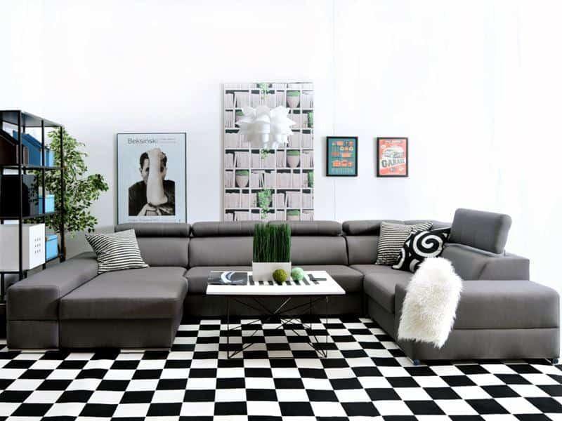 Ashley u sofa udført i grå farve vist forfra