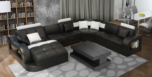 Douglas u sofa i sort og hvid farve set forfra