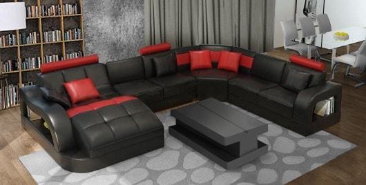 Douglas u sofa i rød og sort farver set forfra