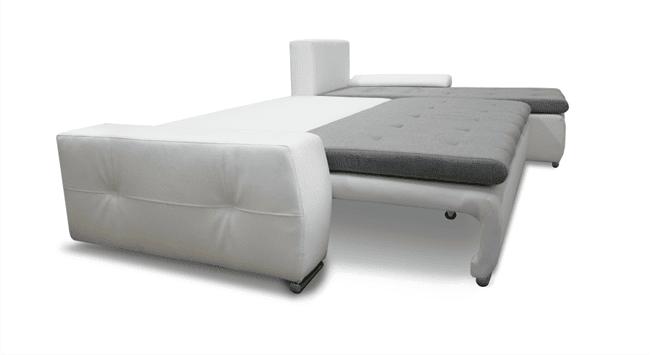 Panorama sovesofa med chaiselong vist omdannet til seng
