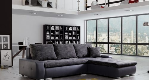 Panorama sovesofa med chaiselong i sort og grå farve set forfra