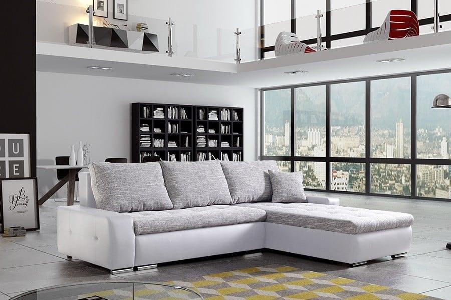 Panorama sovesofa med chaiselong i hvid og grå farve set fra siden
