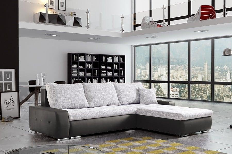 Panorama sovesofa med chaiselong i sort og beige farver set forfra