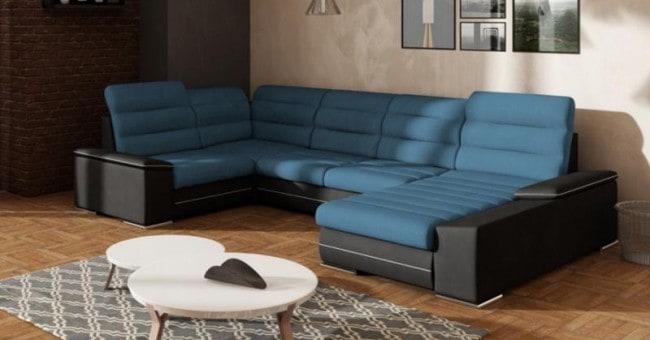 Play b u sofa i blå og grå farver set forfra