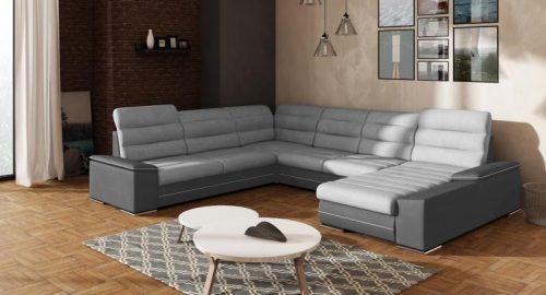 Play c u sofa udført i grå nuancer set forfra