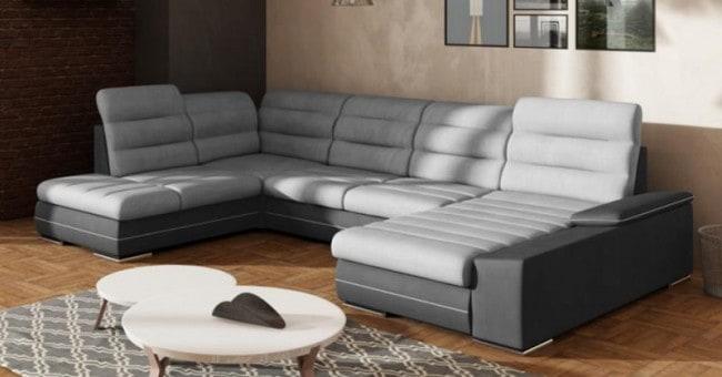Play a u sofa set i grå nuancer set forfra