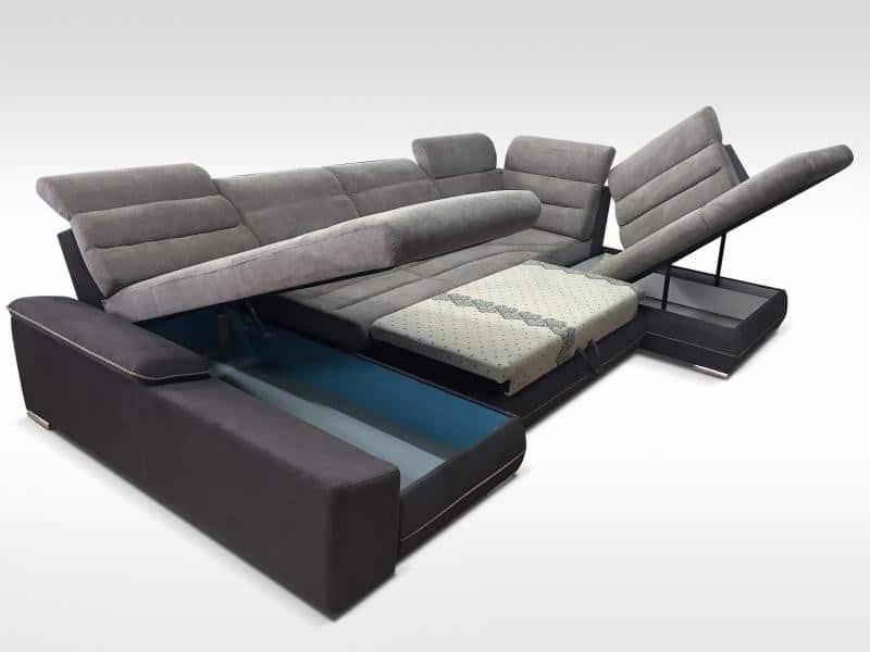 Play a u sofa vist med åben magasin og soveudtræk