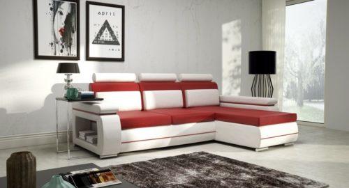 Capitol sovesofa med chaiselong i rød og hvid farve set forfra