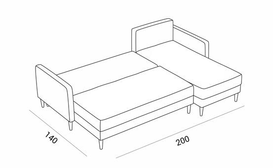 Hellen sovesofa omdannet til seng