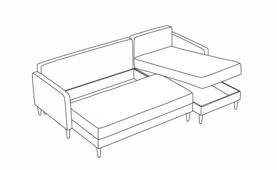 Hellen chaiselong sovesofa vist med opbevaring