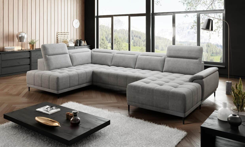 Svært Grå u sofa med elektrisk justeret sædedybde og justerbare nakkestøtter LQ-14