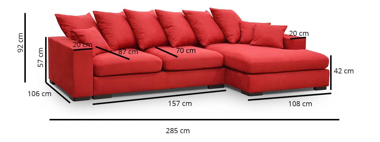 Hamilton chaiselong sovesofabilledet der viser mål