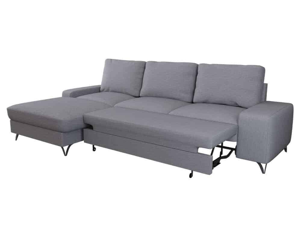 Flavio grå chaiselong sofa omdannet til seng