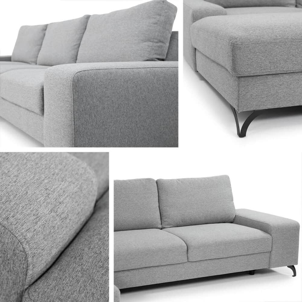 Flavio grå chaiselong sofa set fra flere vinkler