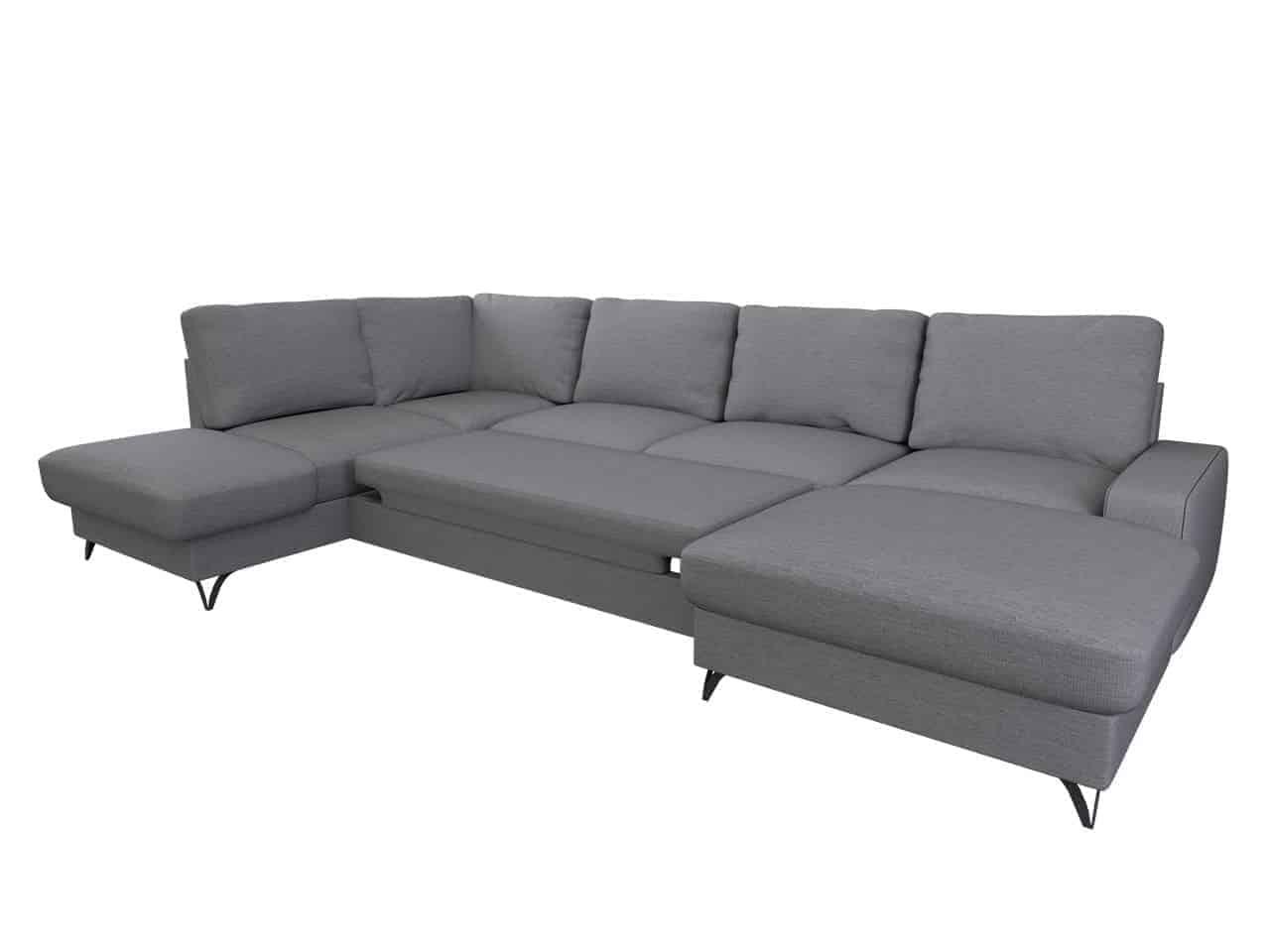 Flavio grå u-sofa omdannet til seng