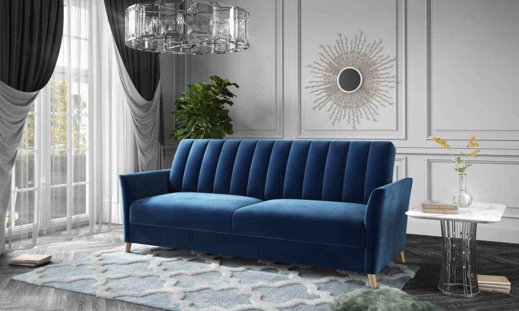 Nadia klassisk i blåt stof af velour type set forfra