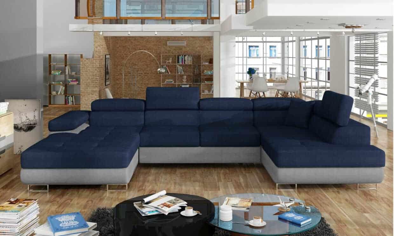 Picture of: New York Bla Og Sort U Sofa I Moderne Stil Pa Kromben