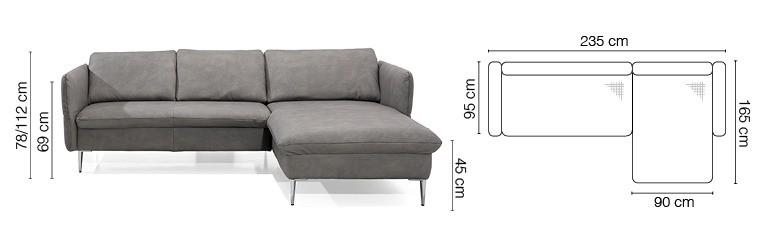 Magic sofa med chaiselong på kromben - billedet og tegning med mål