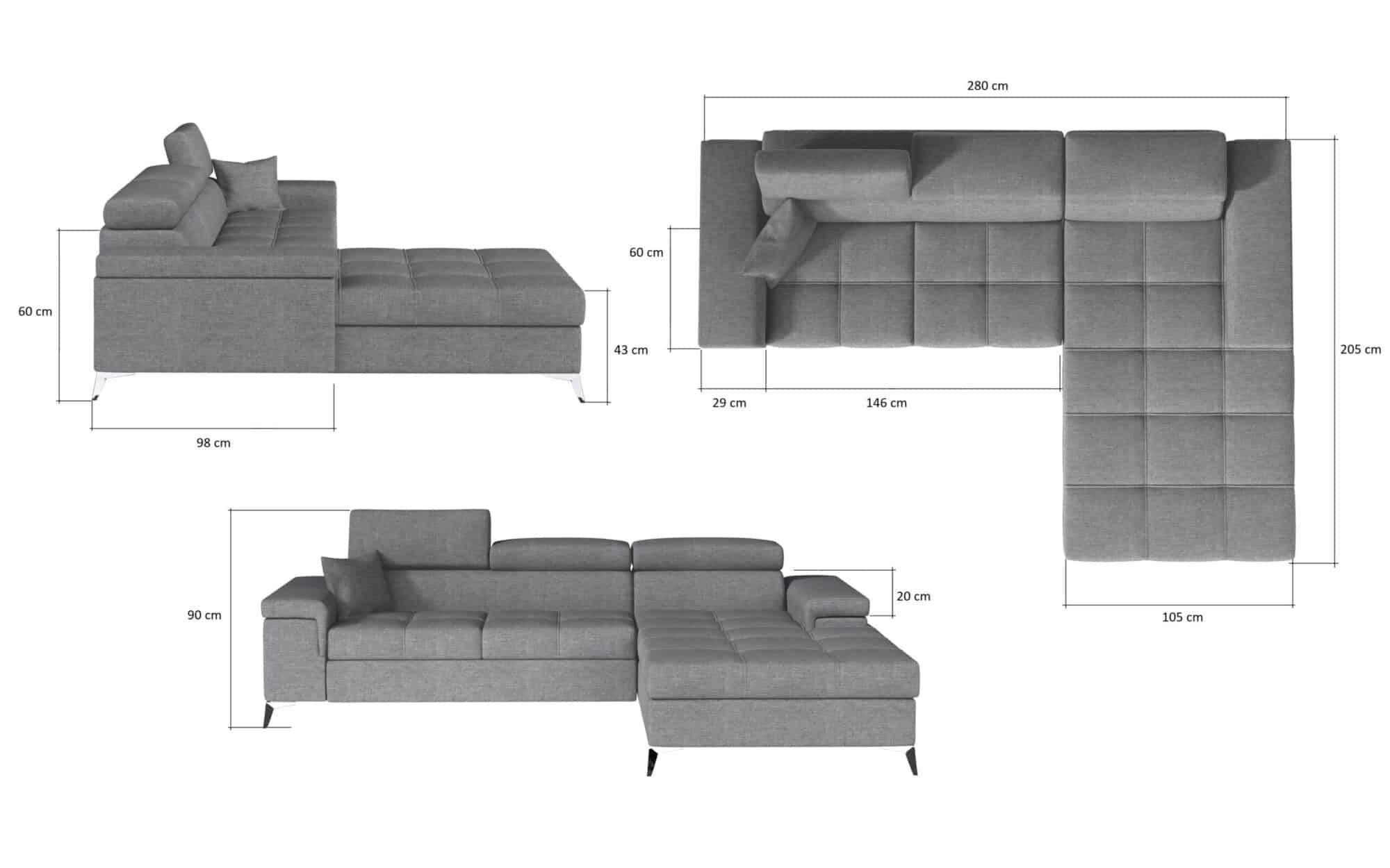 Concept One chaiselong sovesofa billedet med mål