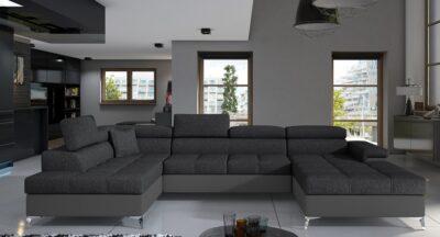 Loretto B to farvet  - mørkegrå og grå set forfra
