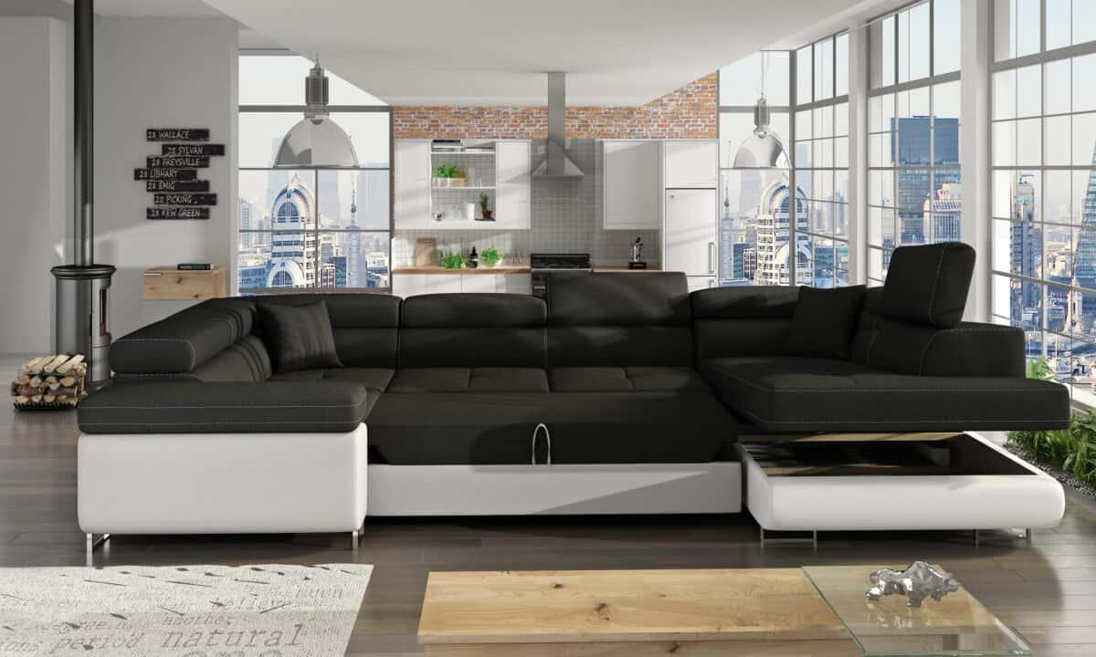 Prestige Two u sofa i hvid og sort farve omdannet til seng