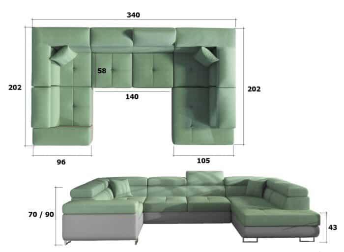 Prestige Two u sofa i grå og grøn farve set forfra